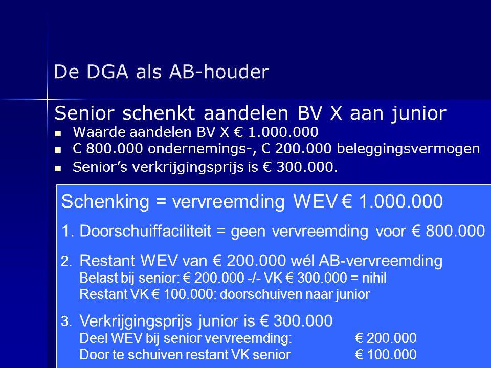 De DGA als AB-houder Senior schenkt aandelen BV X aan junior   Waarde aandelen BV X € 1.000.000   € 800.000 ondernemings-, € 200.000 beleggingsver
