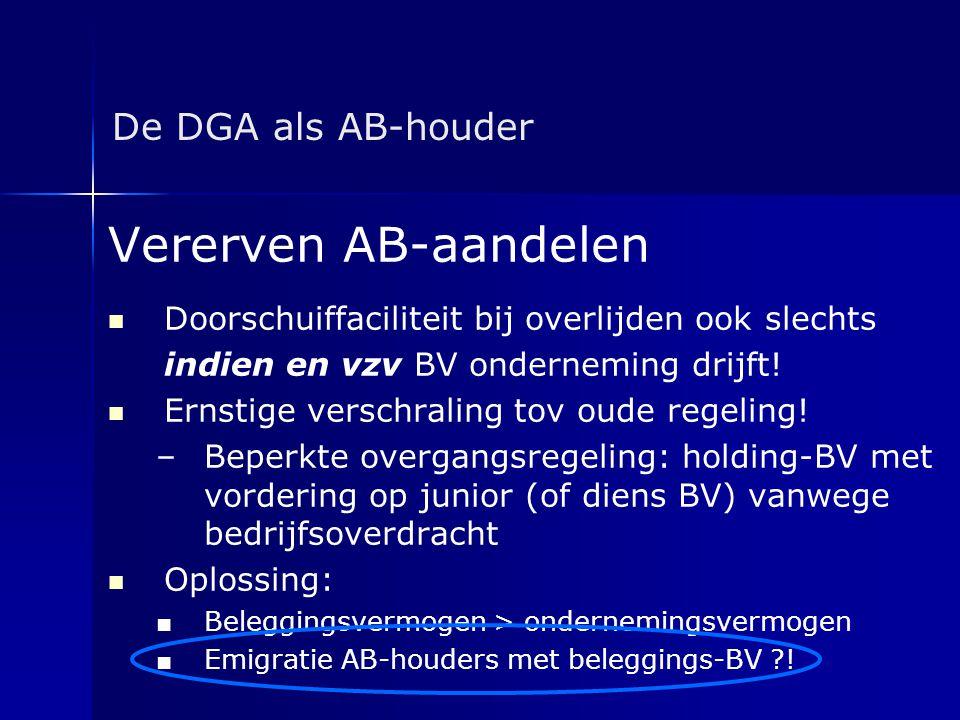 De DGA als AB-houder Vererven AB-aandelen   Doorschuiffaciliteit bij overlijden ook slechts indien en vzv BV onderneming drijft!   Ernstige versch