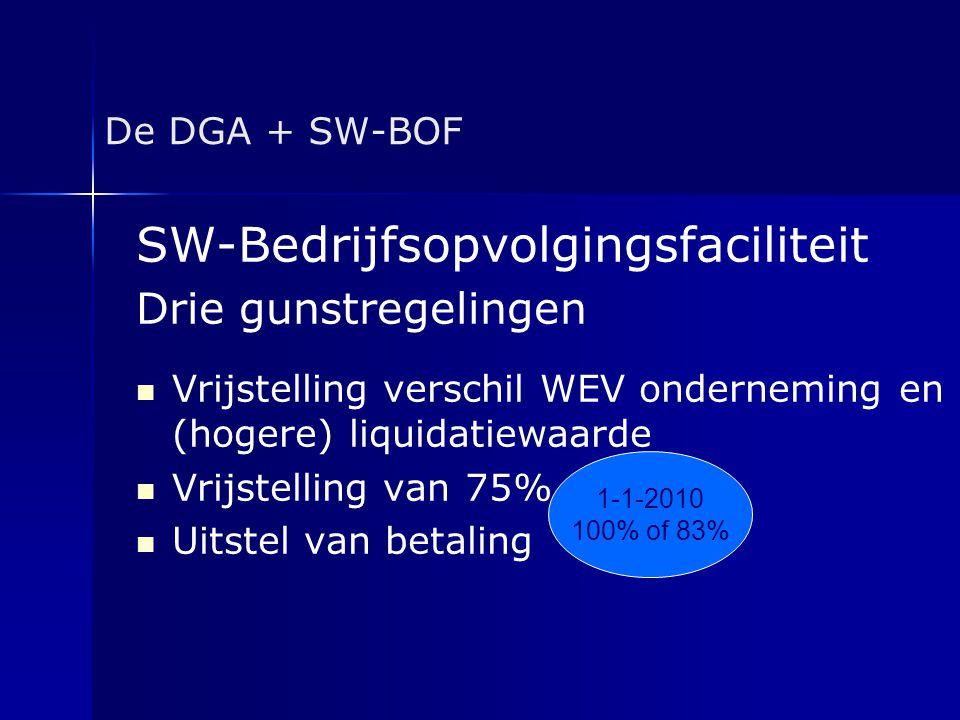De DGA + SW-BOF SW-Bedrijfsopvolgingsfaciliteit Drie gunstregelingen   Vrijstelling verschil WEV onderneming en (hogere) liquidatiewaarde   Vrijst