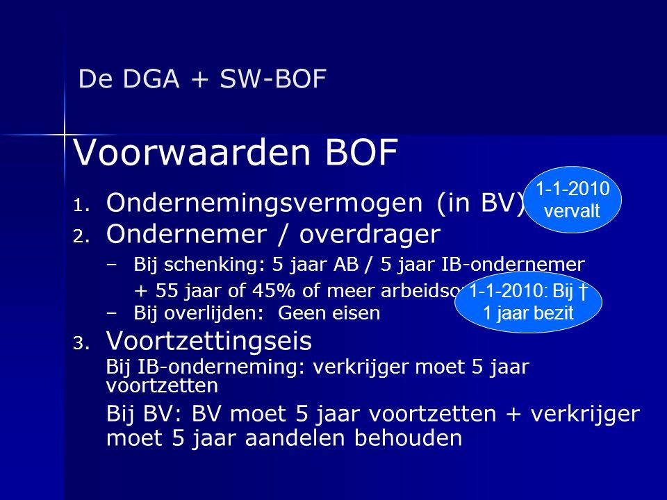De DGA + SW-BOF Voorwaarden BOF 1. 1. Ondernemingsvermogen (in BV) 2. 2. Ondernemer / overdrager – –Bij schenking: 5 jaar AB / 5 jaar IB-ondernemer +