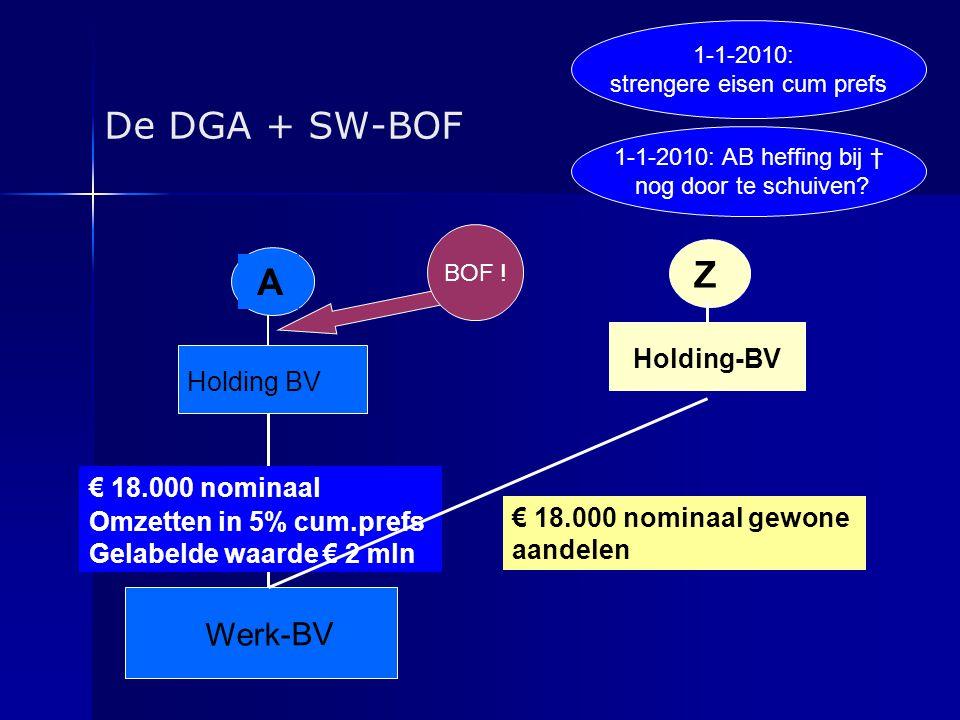 De DGA + SW-BOF A Holding BV € 18.000 nominaal Omzetten in 5% cum.prefs Gelabelde waarde € 2 mln Werk-BV Z Holding-BV € 18.000 nominaal gewone aandele