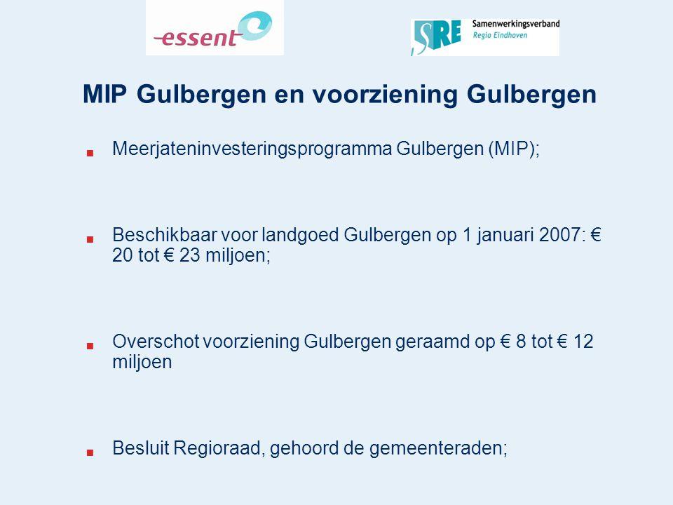 MIP Gulbergen en voorziening Gulbergen  Meerjateninvesteringsprogramma Gulbergen (MIP);  Beschikbaar voor landgoed Gulbergen op 1 januari 2007: € 20