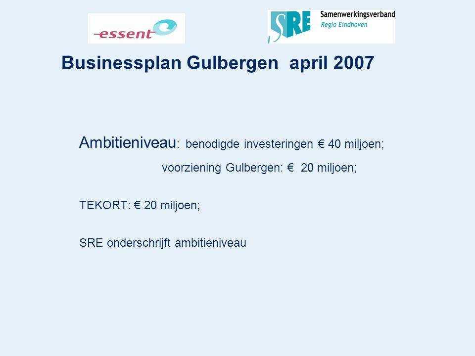 Businessplan Gulbergen april 2007 Ambitieniveau : benodigde investeringen € 40 miljoen; voorziening Gulbergen: € 20 miljoen; TEKORT: € 20 miljoen; SRE