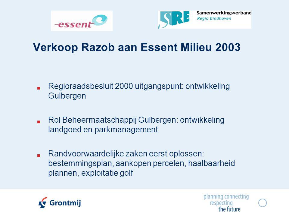 Verkoop Razob aan Essent Milieu 2003  Regioraadsbesluit 2000 uitgangspunt: ontwikkeling Gulbergen  Rol Beheermaatschappij Gulbergen: ontwikkeling la
