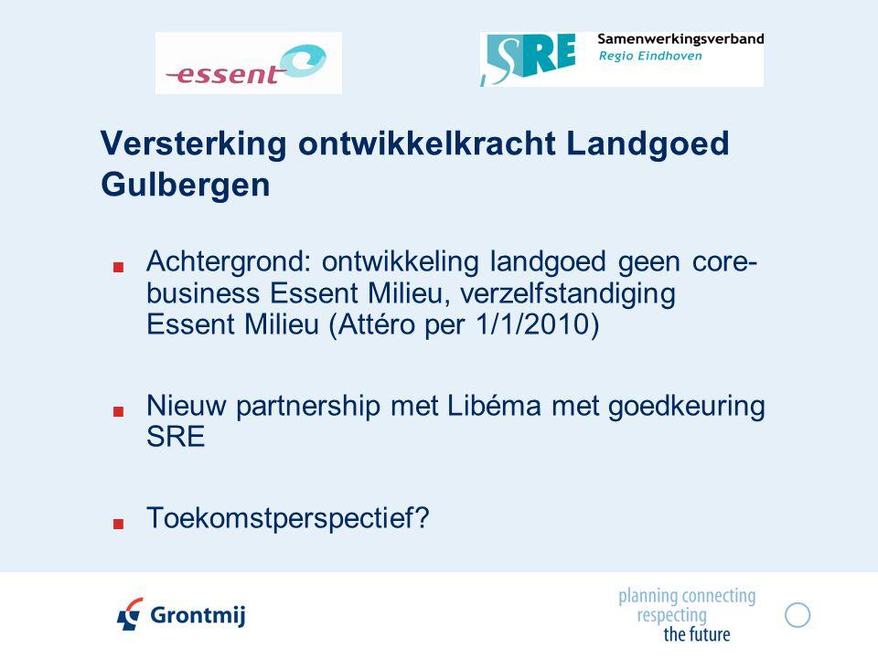 Versterking ontwikkelkracht Landgoed Gulbergen  Achtergrond: ontwikkeling landgoed geen core- business Essent Milieu, verzelfstandiging Essent Milieu