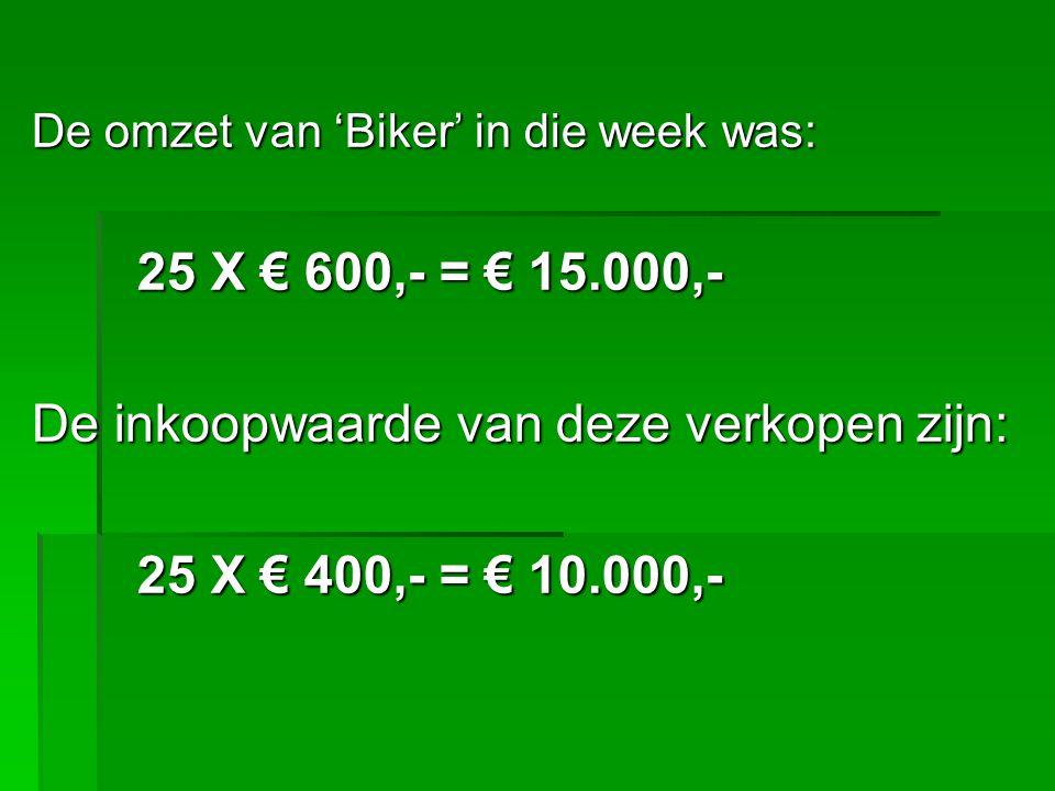 Trekken we dit vervolgens van elkaar af dan krijgen we: Omzet€ 15.000,- Inkoopwaarde verkopen€ 10.000,- -- € 5.000,- Bruto winst Dit noemen we: