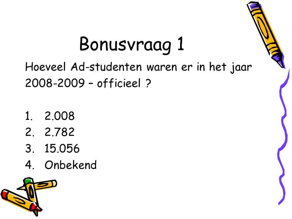 Bonusvraag 1 Hoeveel Ad-studenten waren er in het jaar 2008-2009 – officieel .