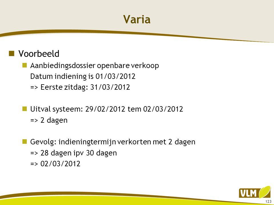 Varia  Voorbeeld  Aanbiedingsdossier openbare verkoop Datum indiening is 01/03/2012 => Eerste zitdag: 31/03/2012  Uitval systeem: 29/02/2012 tem 02