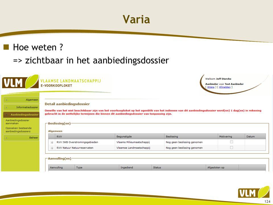 Varia  Hoe weten ? => zichtbaar in het aanbiedingsdossier 124