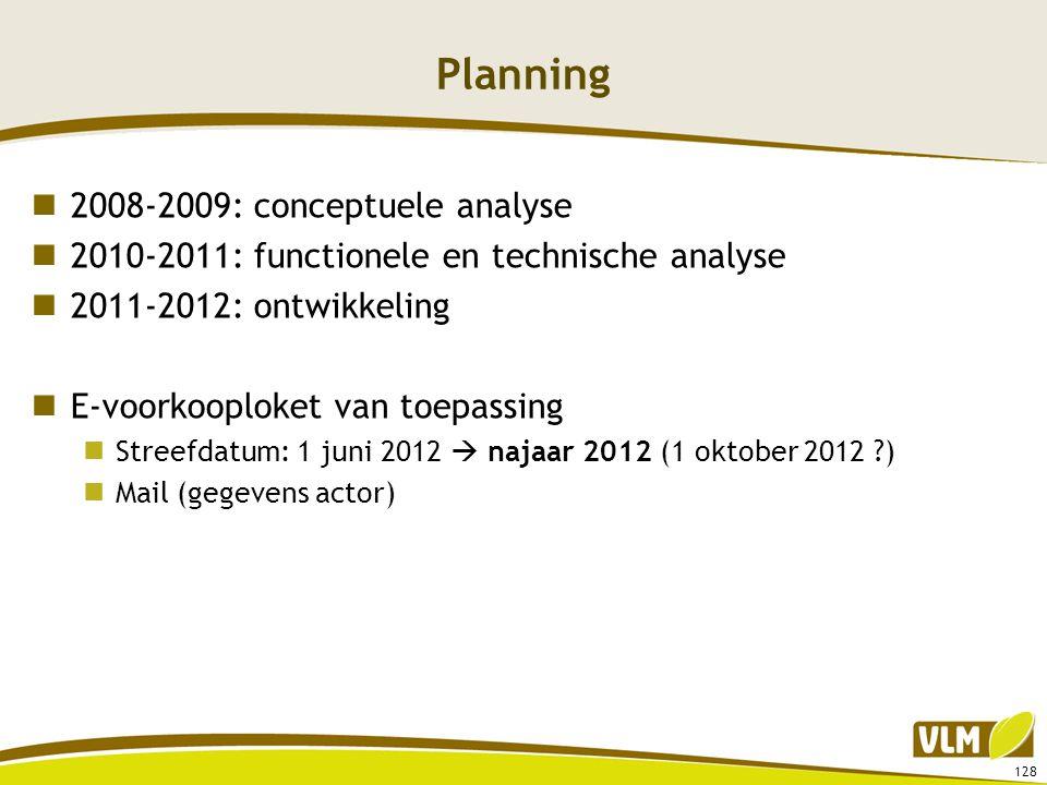 Planning  2008-2009: conceptuele analyse  2010-2011: functionele en technische analyse  2011-2012: ontwikkeling  E-voorkooploket van toepassing 