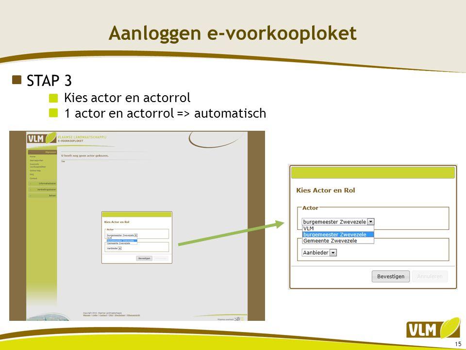 Aanloggen e-voorkooploket 15 STAP 3 Kies actor en actorrol 1 actor en actorrol => automatisch