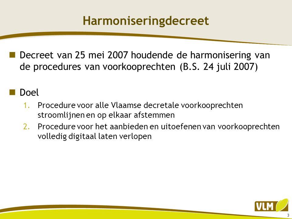 Harmoniseringdecreet  Decreet van 25 mei 2007 houdende de harmonisering van de procedures van voorkooprechten (B.S. 24 juli 2007)  Doel 1.Procedure
