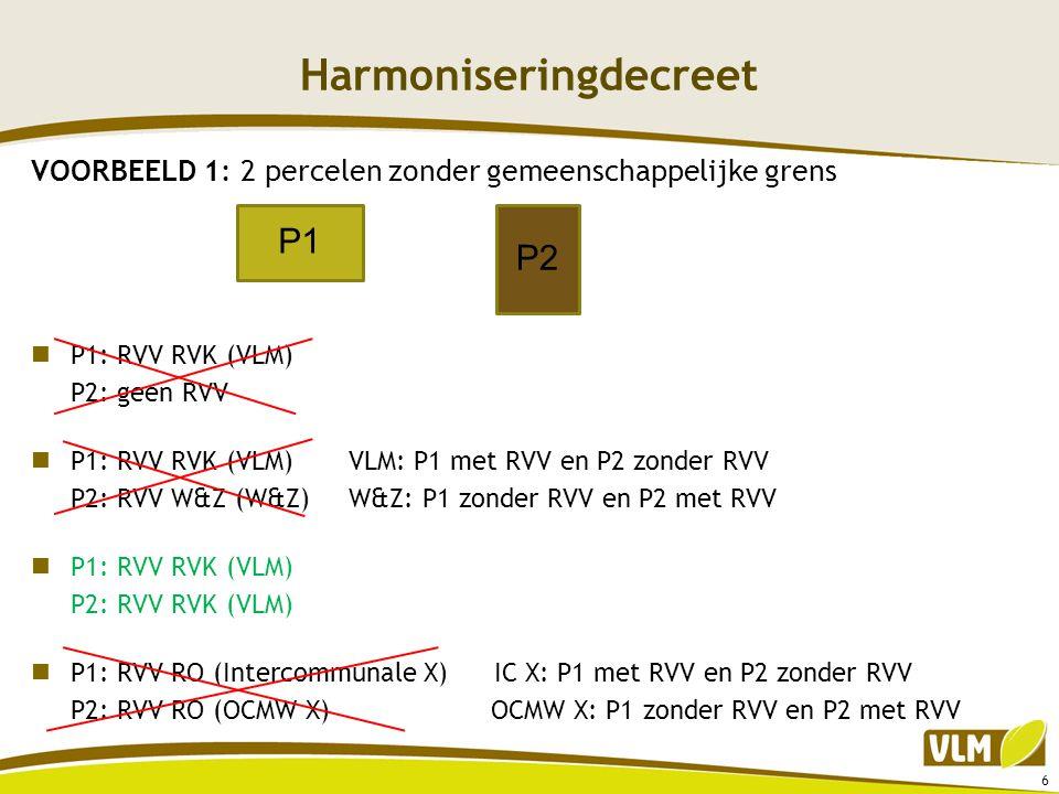 Harmoniseringdecreet VOORBEELD 1: 2 percelen zonder gemeenschappelijke grens  P1: RVV RVK (VLM) P2: geen RVV  P1: RVV RVK (VLM)VLM: P1 met RVV en P2