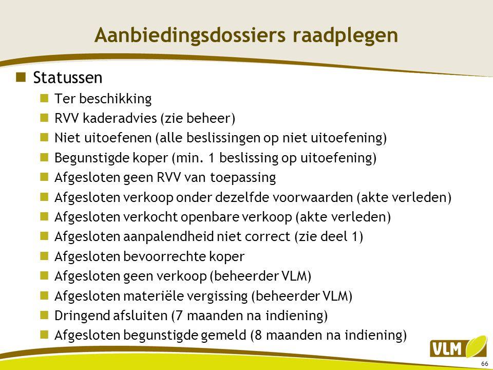 Aanbiedingsdossiers raadplegen  Statussen  Ter beschikking  RVV kaderadvies (zie beheer)  Niet uitoefenen (alle beslissingen op niet uitoefening)