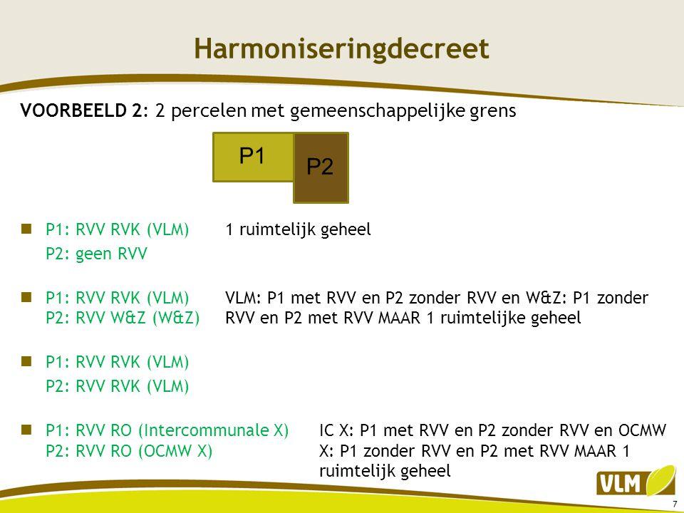 Harmoniseringdecreet VOORBEELD 2: 2 percelen met gemeenschappelijke grens  P1: RVV RVK (VLM)1 ruimtelijk geheel P2: geen RVV  P1: RVV RVK (VLM)VLM:
