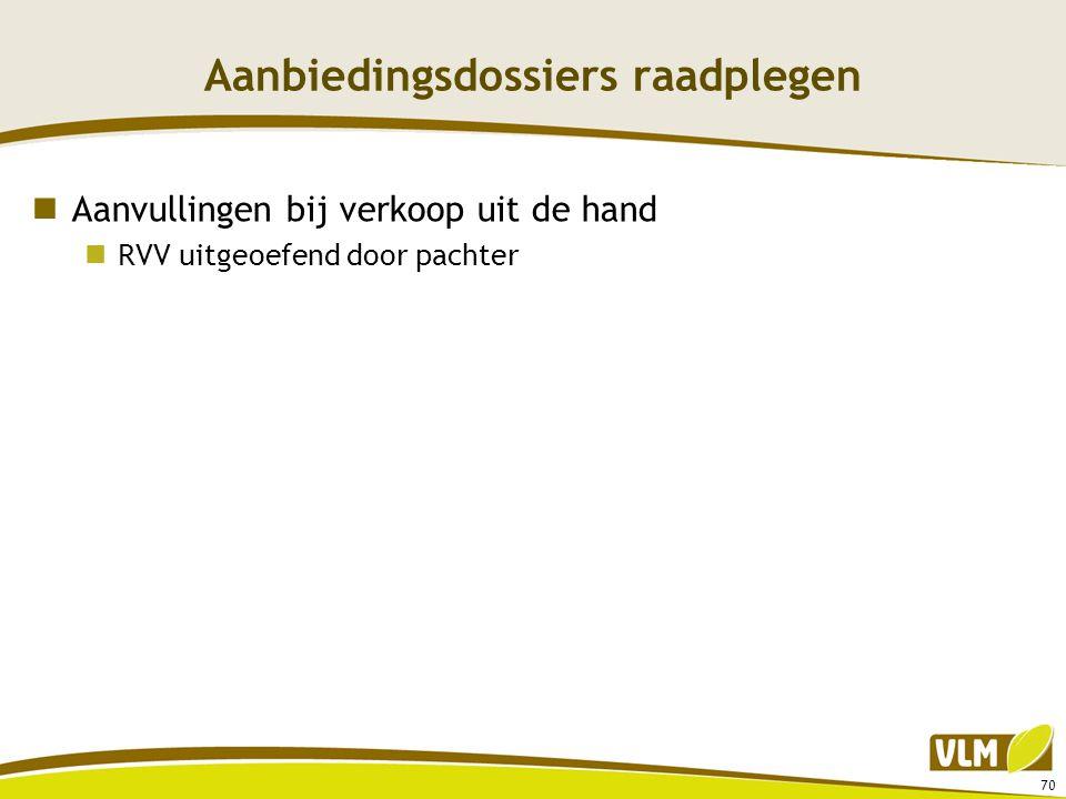 Aanbiedingsdossiers raadplegen  Aanvullingen bij verkoop uit de hand  RVV uitgeoefend door pachter 70