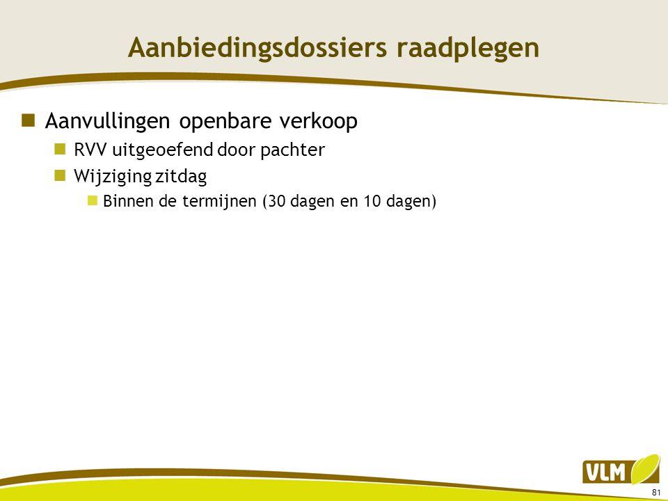 Aanbiedingsdossiers raadplegen  Aanvullingen openbare verkoop  RVV uitgeoefend door pachter  Wijziging zitdag  Binnen de termijnen (30 dagen en 10