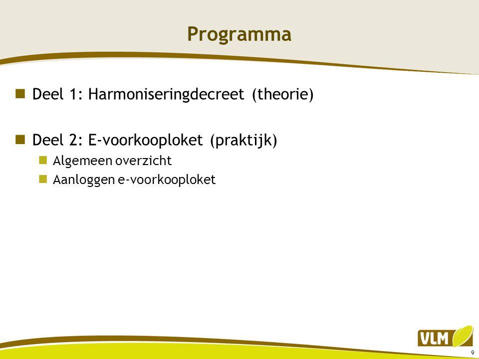 Programma  Deel 1: Harmoniseringdecreet (theorie)  Deel 2: E-voorkooploket (praktijk)  Algemeen overzicht  Aanloggen e-voorkooploket 9