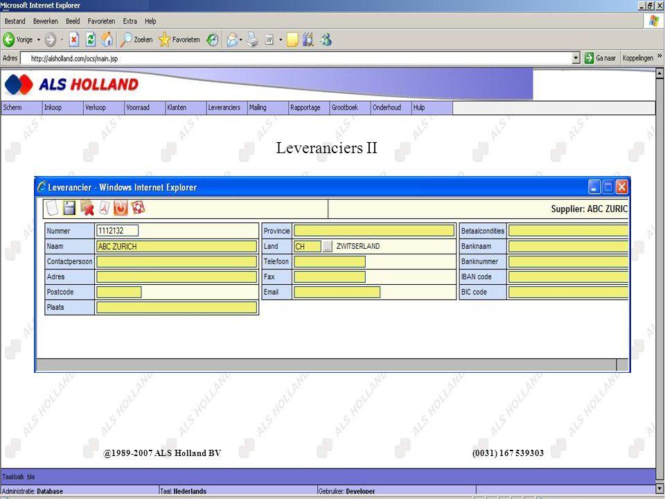 Leveranciers II @1989-2007 ALS Holland BV (0031) 167 539303