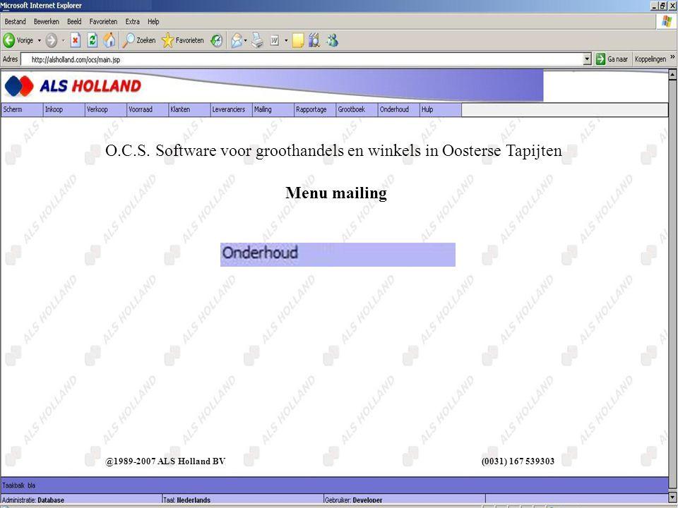 Menu mailing O.C.S.