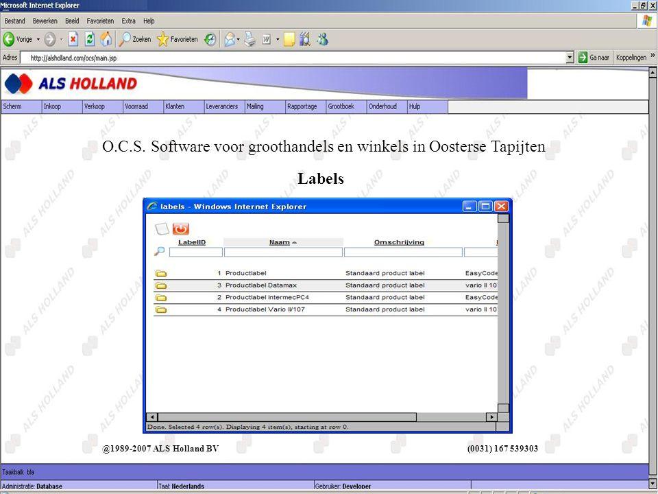 Labels O.C.S. Software voor groothandels en winkels in Oosterse Tapijten @1989-2007 ALS Holland BV (0031) 167 539303