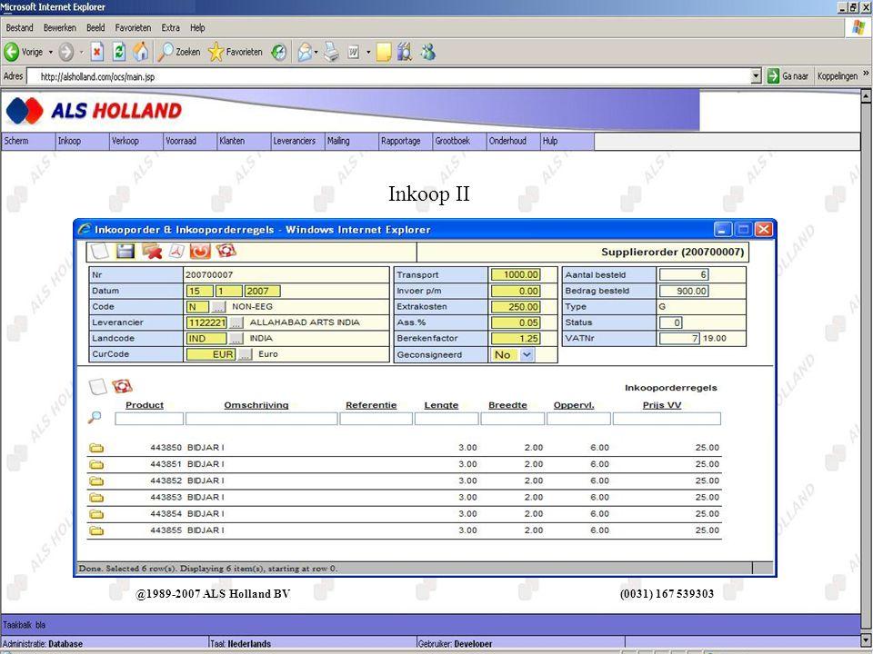 Inkoop II @1989-2007 ALS Holland BV (0031) 167 539303