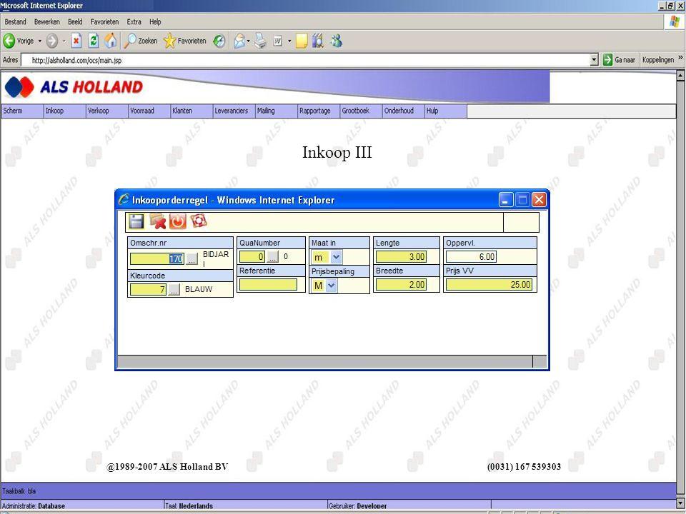 Inkoop III @1989-2007 ALS Holland BV (0031) 167 539303
