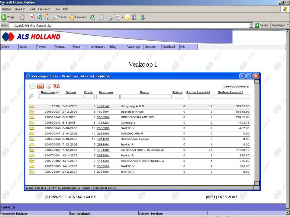 @1989-2007 ALS Holland BV (0031) 167 539303 Omschrijvingen I