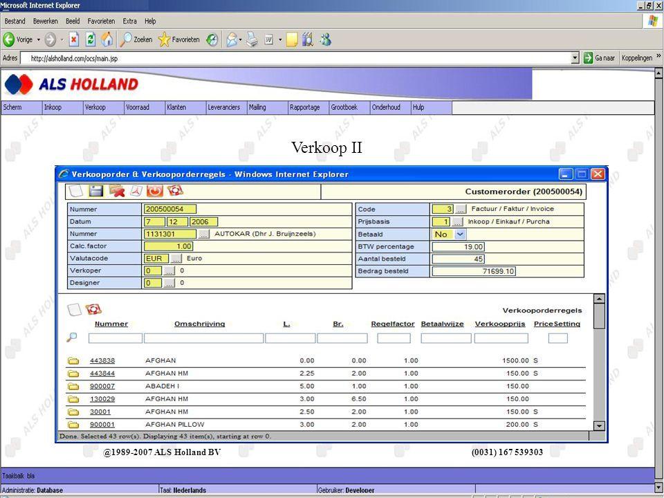 Menu help @1989-2007 ALS Holland BV (0031) 167 539303 O.C.S.