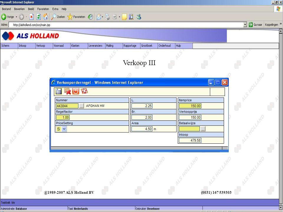 Verkoop III @1989-2007 ALS Holland BV (0031) 167 539303