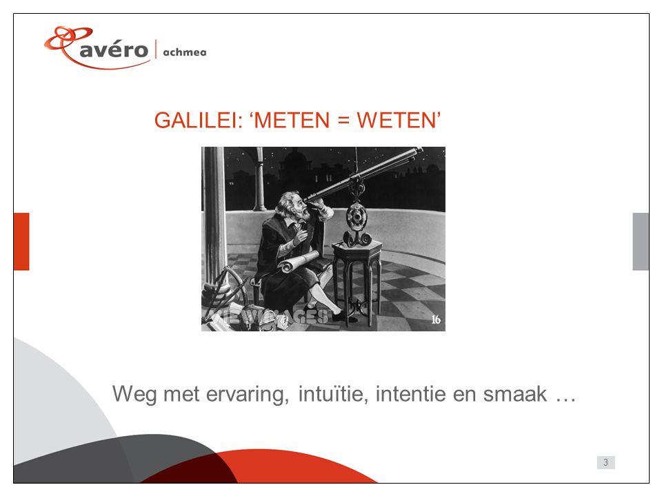 3 GALILEI: 'METEN = WETEN' Weg met ervaring, intuïtie, intentie en smaak …