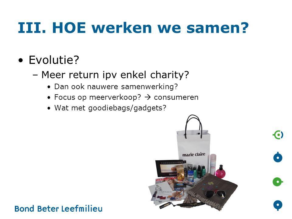 III. HOE werken we samen. •Evolutie. –Meer return ipv enkel charity.