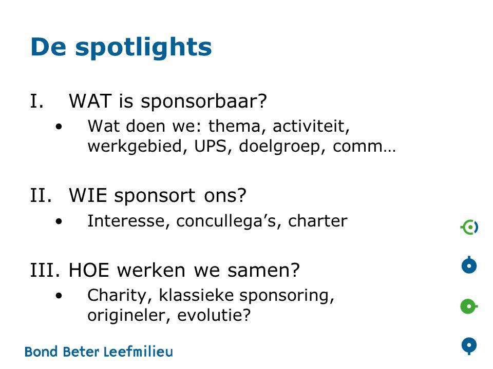 De spotlights I.WAT is sponsorbaar? •Wat doen we: thema, activiteit, werkgebied, UPS, doelgroep, comm… II.WIE sponsort ons? •Interesse, concullega's,
