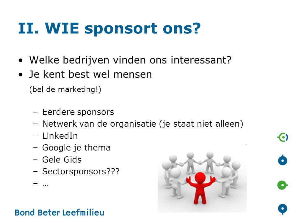 II. WIE sponsort ons. •Welke bedrijven vinden ons interessant.