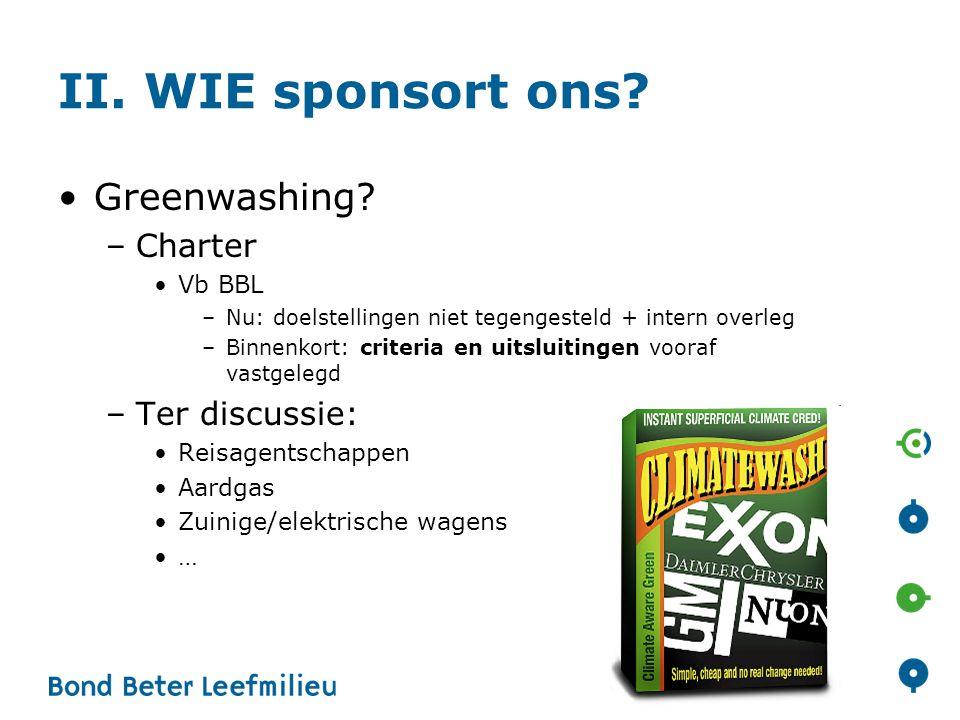 II. WIE sponsort ons? •Greenwashing? –Charter •Vb BBL –Nu: doelstellingen niet tegengesteld + intern overleg –Binnenkort: criteria en uitsluitingen vo