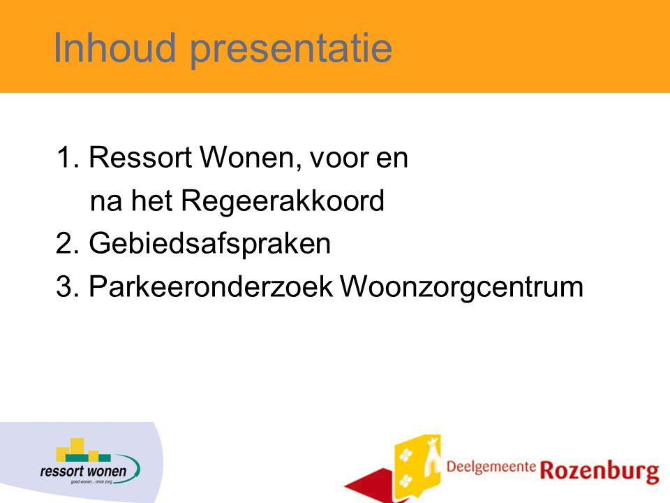 Inhoud presentatie 1.Ressort Wonen, voor en na het Regeerakkoord 2.