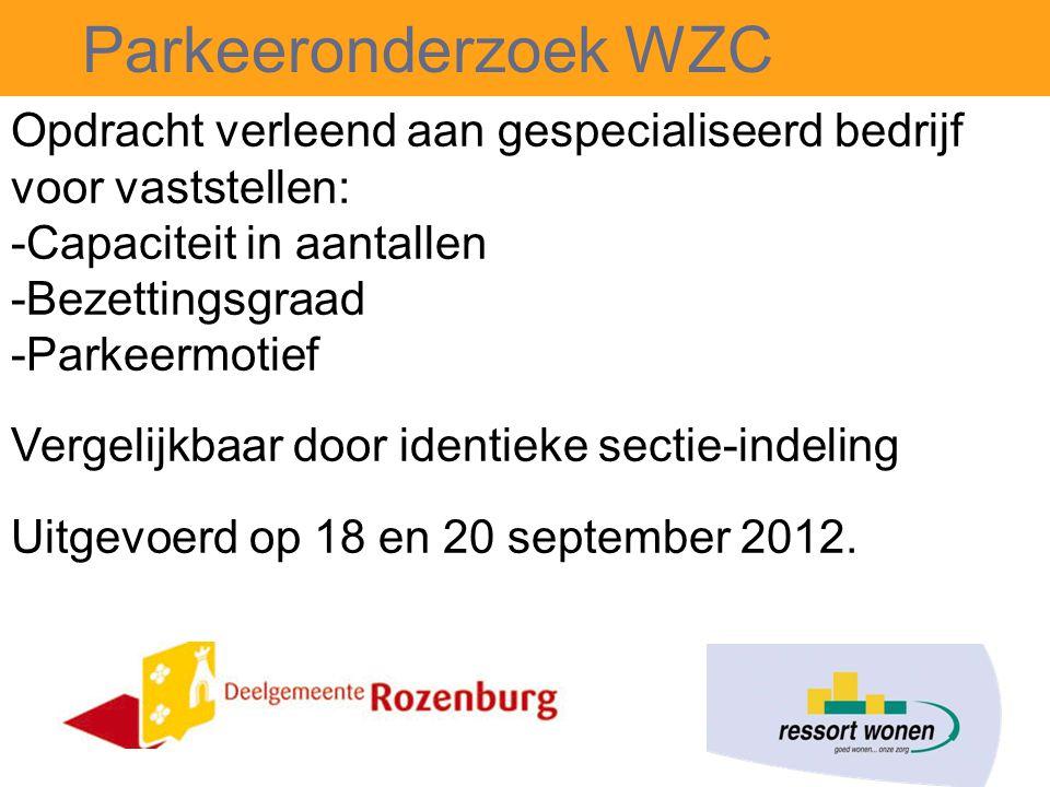 Parkeeronderzoek WZC Opdracht verleend aan gespecialiseerd bedrijf voor vaststellen: -Capaciteit in aantallen -Bezettingsgraad -Parkeermotief Vergelijkbaar door identieke sectie-indeling Uitgevoerd op 18 en 20 september 2012.