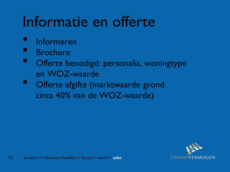 13 Informatie en offerte • Informeren • Brochure • Offerte benodigd: personalia, woningtype en WOZ-waarde • Offerte afgifte (marktwaarde grond circa 40% van de WOZ-waarde) product > rekenvoorbeelden > fiscaal > markt > sales