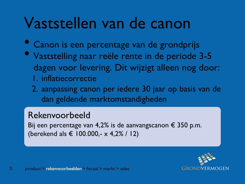 5 Vaststellen van de canon • Canon is een percentage van de grondprijs • Vaststelling naar reële rente in de periode 3-5 dagen voor levering.