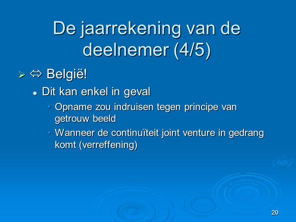 20 De jaarrekening van de deelnemer (4/5)   België.