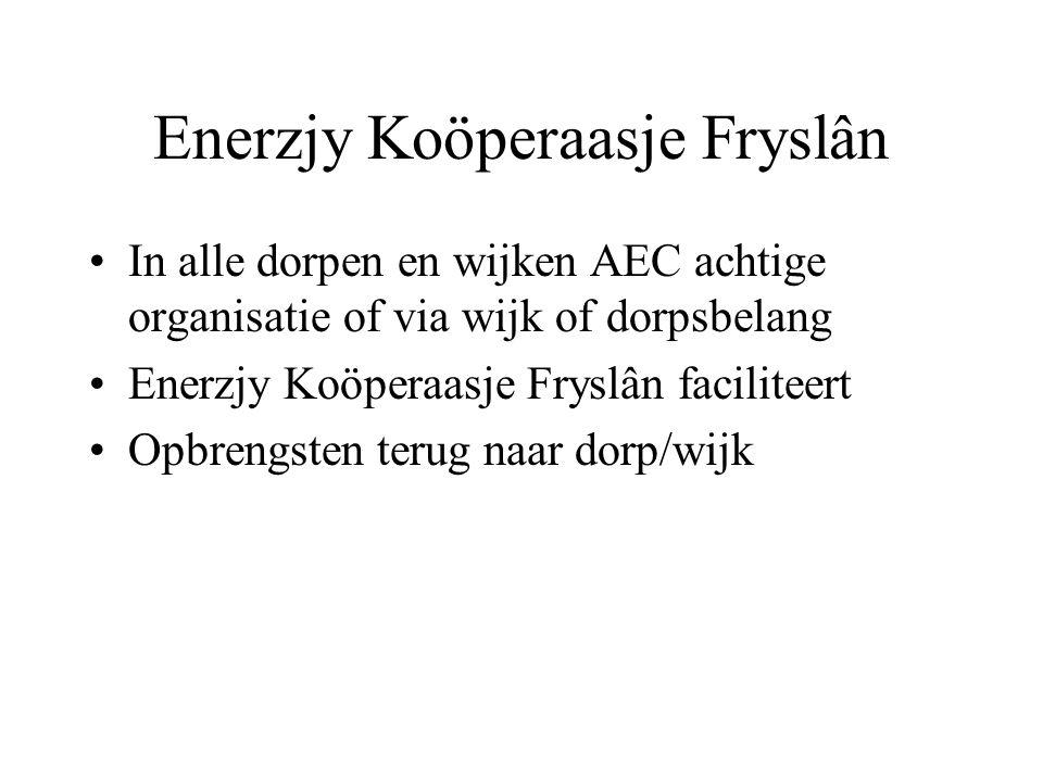 Enerzjy Koöperaasje Fryslân •In alle dorpen en wijken AEC achtige organisatie of via wijk of dorpsbelang •Enerzjy Koöperaasje Fryslân faciliteert •Opb