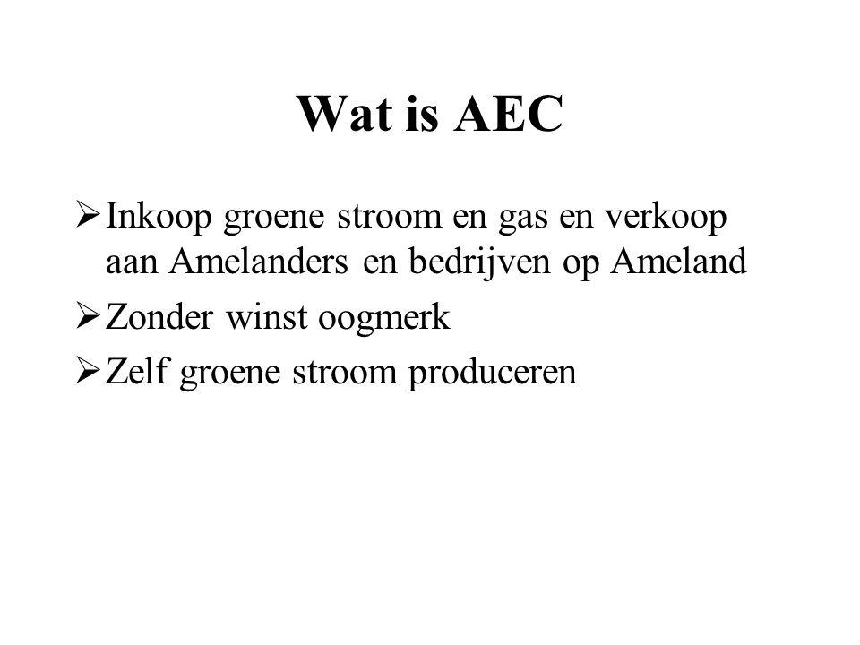 Wat is AEC  Inkoop groene stroom en gas en verkoop aan Amelanders en bedrijven op Ameland  Zonder winst oogmerk  Zelf groene stroom produceren