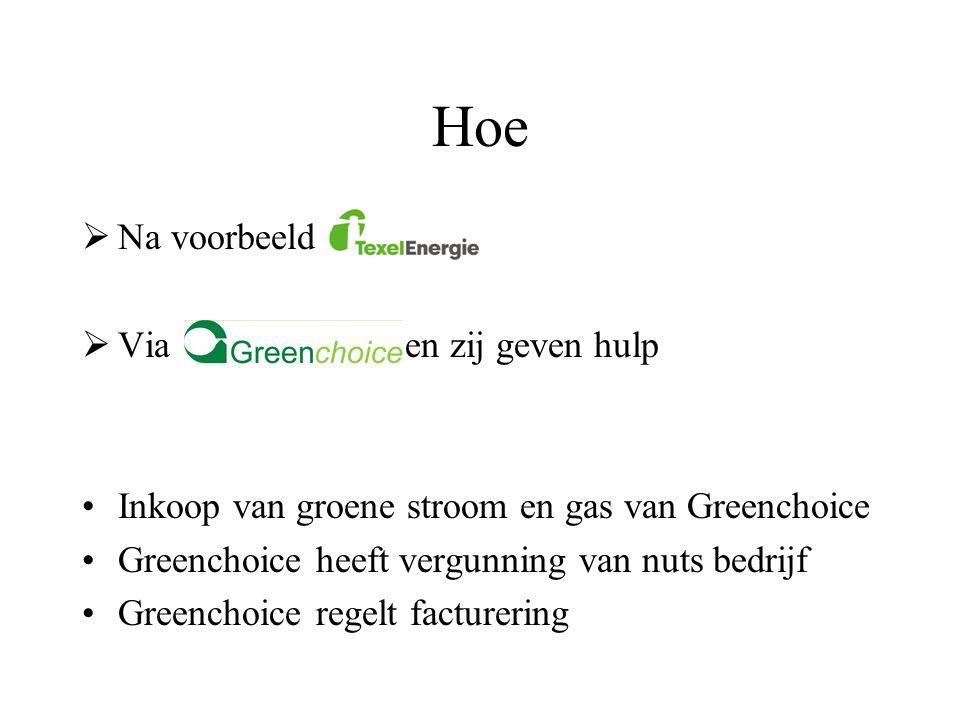 Hoe  Na voorbeeld  Via en zij geven hulp •Inkoop van groene stroom en gas van Greenchoice •Greenchoice heeft vergunning van nuts bedrijf •Greenchoic