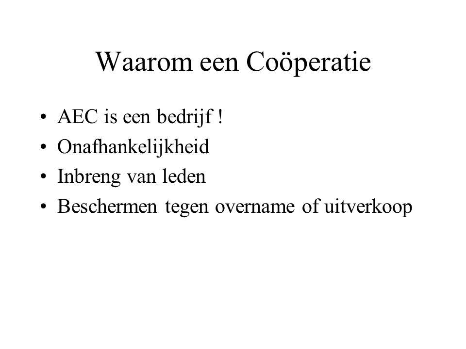 Waarom een Coöperatie •AEC is een bedrijf ! •Onafhankelijkheid •Inbreng van leden •Beschermen tegen overname of uitverkoop