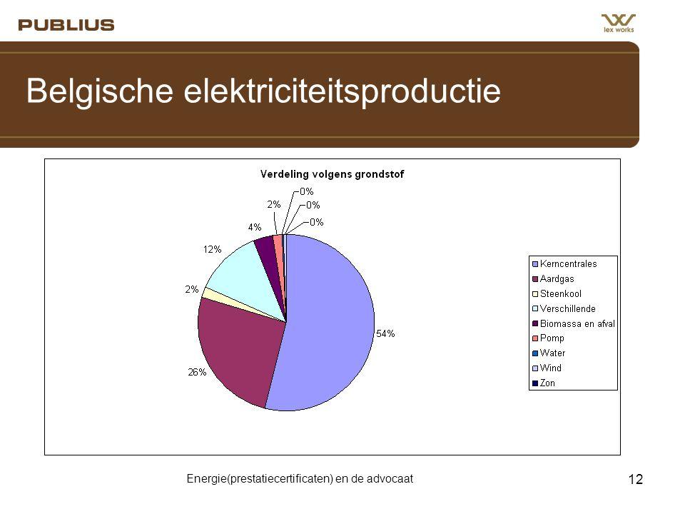 Energie(prestatiecertificaten) en de advocaat 12 Belgische elektriciteitsproductie