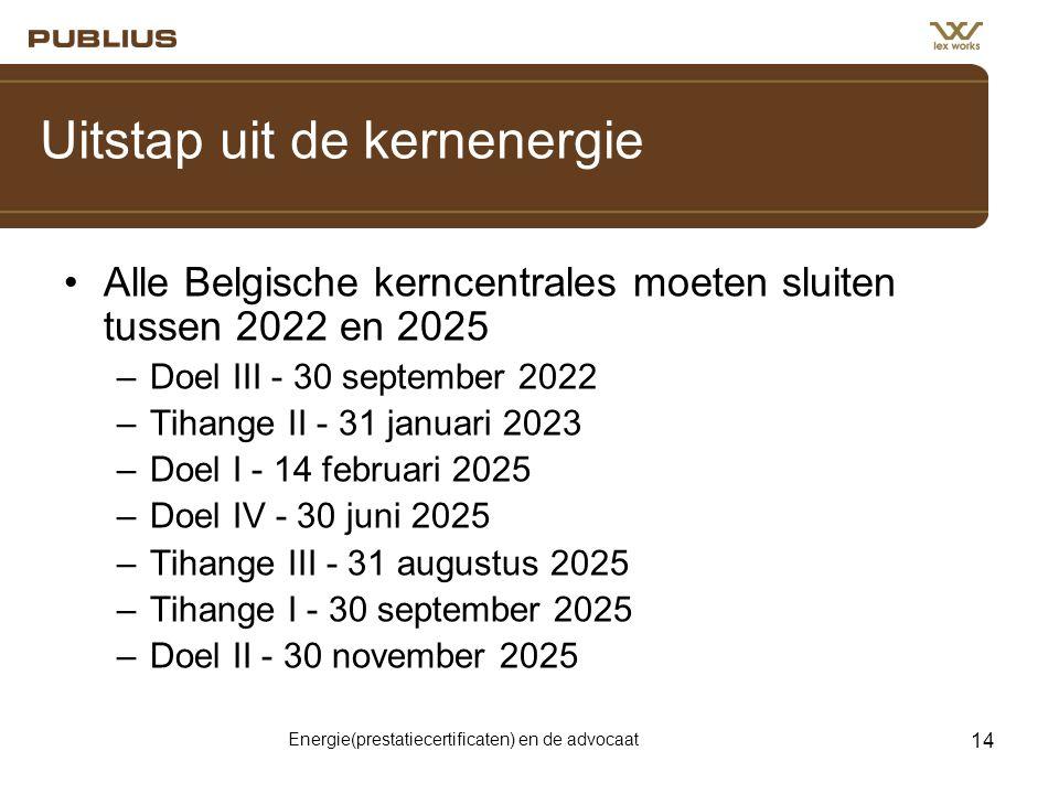 Energie(prestatiecertificaten) en de advocaat 14 Uitstap uit de kernenergie •Alle Belgische kerncentrales moeten sluiten tussen 2022 en 2025 –Doel III - 30 september 2022 –Tihange II - 31 januari 2023 –Doel I - 14 februari 2025 –Doel IV - 30 juni 2025 –Tihange III - 31 augustus 2025 –Tihange I - 30 september 2025 –Doel II - 30 november 2025