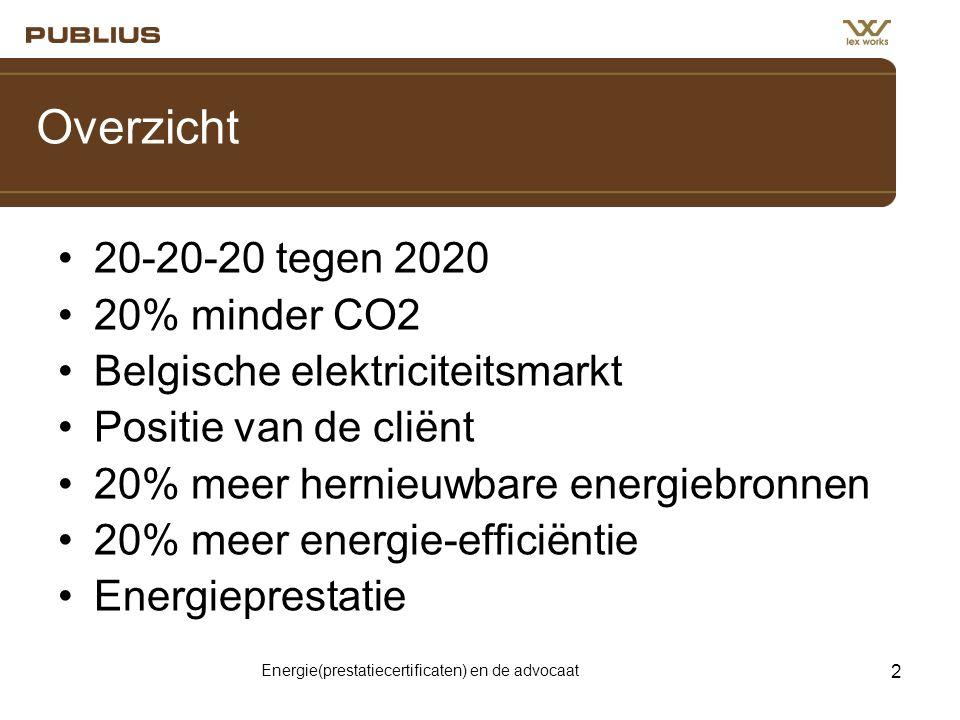 Energie(prestatiecertificaten) en de advocaat 2 Overzicht •20-20-20 tegen 2020 •20% minder CO2 •Belgische elektriciteitsmarkt •Positie van de cliënt •20% meer hernieuwbare energiebronnen •20% meer energie-efficiëntie •Energieprestatie