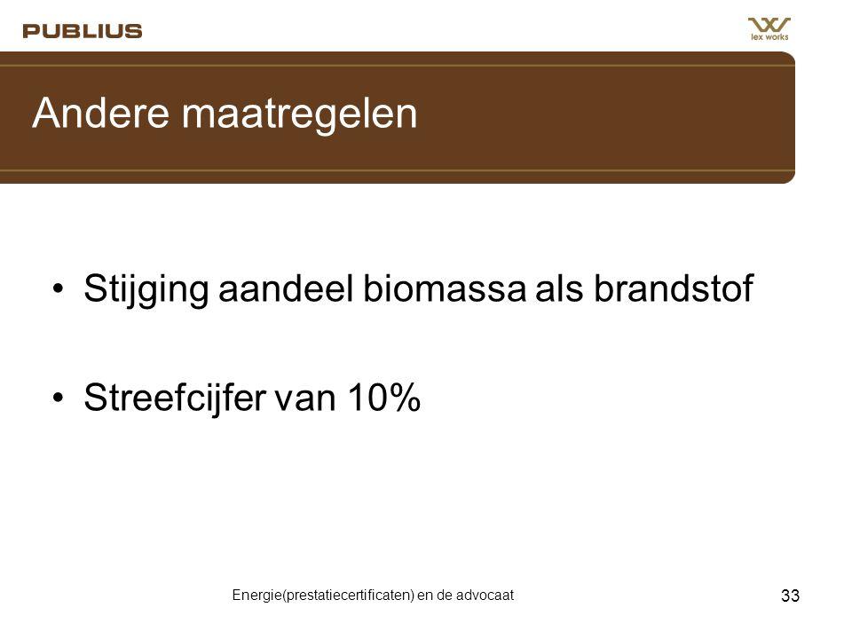 Energie(prestatiecertificaten) en de advocaat 33 Andere maatregelen •Stijging aandeel biomassa als brandstof •Streefcijfer van 10%