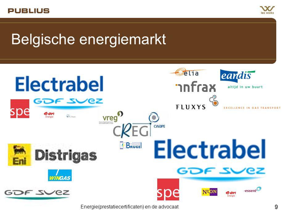 Energie(prestatiecertificaten) en de advocaat 9 Belgische energiemarkt