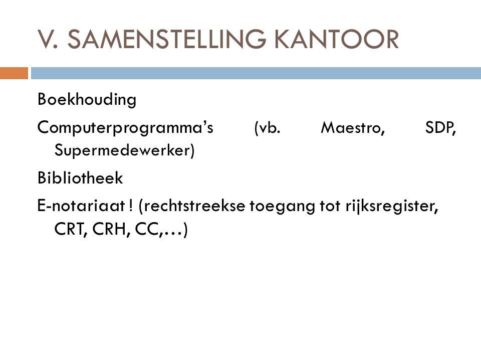 V. SAMENSTELLING KANTOOR Boekhouding Computerprogramma's (vb. Maestro, SDP, Supermedewerker) Bibliotheek E-notariaat ! (rechtstreekse toegang tot rijk